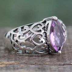 Amethyst cocktail ring, $48 'Love Sonnet' - Marquise Amethyst Single Stone Silver Ring from India https://www.novica.com/itemdetail/?pid=226845