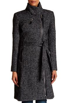 Asymmetric Belted Wool Blend Coat by BCBGeneration on @nordstrom_rack