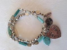 Online at Treasures to Treasure Turquoise Heart Bracelet Heart Bracelet, Bracelets, Charmed, Turquoise, Jewels, Silver, Gold, Jewerly, Green Turquoise