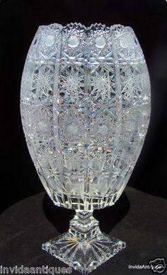 "Brilliant Cut Glass Crystal Pinwheel Hobstar Vase 13 3/4"" Tall- BEAUTIFUL"