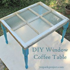 DIY Window Coffee Table - beautiful decor idea with detailed tutorial Vintage Windows, Old Windows, Windows And Doors, Window Coffee Table, Window Table, Door Tables, Outdoor Coffee Tables, Old Window Projects, Home Projects