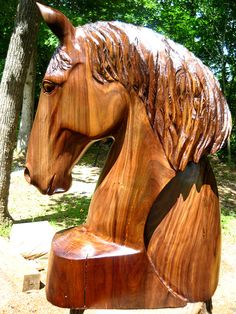 Walnut Wood Horse Head | Mark Poleski, Sleepy Hollow Art.