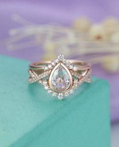 White Sapphire engagement ring Rose gold Diamond wedding band Women Curved Vintage Pear shaped Twisted Bridal Set Jewelry Anniversary Gift - June 02 2019 at Engagement Ring Rose Gold, Gold Diamond Wedding Band, Morganite Engagement, Gold Wedding, Thick Band Engagement Ring, Intricate Engagement Ring, Different Engagement Rings, Dream Wedding, Wedding Rings Vintage