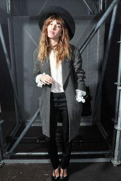hair // fringe // hat // coat // heels // white shirt // black pants