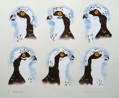 Mick Manning 'Osprey Faces' stencil print http://www.stjudesprints.co.uk/collections/mick-manning