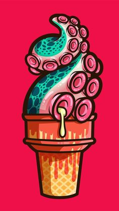 Treat (gumdrop)' T-Shirt by Jennifer Smith - Design -'Swirly Tentacle Treat (gumdrop)' T-Shirt by Jennifer Smith - Design - Melting zombie ice popsicle. Vector clip art illustration with simple gradients. Illustration and blue background on separ Graffiti Art, Graffiti Wallpaper, Illustration Vector, Vector Art, Behance Illustration, Draw Vector, Octopus Illustration, Tattoo Drawings, Art Drawings