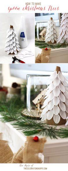 Plastic Spoon Christmas Trees   Kim Byers, TheCelebrationShoppe.com #spooncraft #diyChristmas