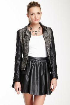 Love this!! Bebe Tweed & Faux Leather Peplum Jacket on @HauteLook