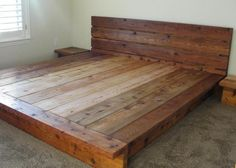 Rate this from 1 to Bed Frame Normandy Four Poster Floating Wood Platform Bed frame with Lighted… Building a levitating bed… DIY King Platform Bed Rustic Platform Bed, King Size Platform Bed, Bed Platform, Diy Platform Bed Plans, Diy Platform Bed Frame, Pallet Platform Bed, Rustic Wooden Headboard, Wooden Bed Frames, Rustic Bedding