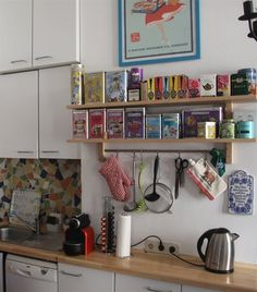 Colourful collection of tea and spice boxes | Holiday memories | VÄRDE wall shelf | Kitchen | See more of Era's apartment in Vienna at live from IKEA FAMILY