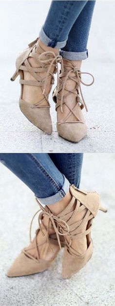 Beige Pointed Strappy Tie Up Heeled Shoes
