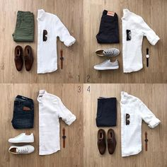Mens Style Discover Which white shirt combo are you going with? Let me know in the comments below! Indian Men Fashion, Big Men Fashion, White Shirt Outfits, Casual Outfits, White Shirts, White Shirt Man, Fashion Outfits, Business Casual Men, Business Suits