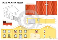 3D Paper House Print Out | Paper model of a yellow house with garage - easy to make - print it on ...
