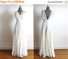 1930s Wedding Gown / 1930s 1940s Lace Bias Cut Wedding Dress by Coldfish on Etsy