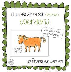 Kleuterjuf in een kleuterklas: Kringactiviteit rekenen - Suiker voor het paard (coöperatieve werkvorm) | Thema BOERDERIJ