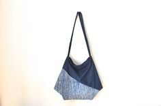 large crossbody bag, japanese bag, large shoulder bag, blue shoulder bag, kimono bag, hobo bag by UMEHARAKABAN on Etsy