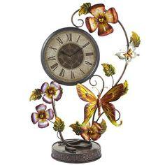 Flowers & Butterflies Metal Clock