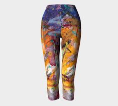 Capris, leggings, opaque knit, yoga, exercise, stretch material, artist design, wearable art, printed fabric, breathable, gift, art print by paperwerks on Etsy #etsy