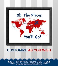 oh the place you'll go map nursery print dr seuss nursery decor travel baby nursery decor dr seuss quote world map playroom art boy decor by PinkeeHome Dr Seuss Nursery, Map Nursery, Travel Nursery, Nursery Decor Boy, Boy Decor, Girl Nursery, Playroom Decor, Nursery Ideas, Playroom Ideas
