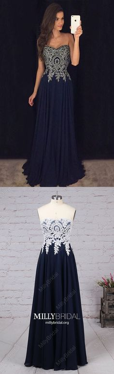 Long Prom Dresses For Teens,Dark Navy Formal Evening Dresses A-line,Vintage Military Ball Dresses Sweetheart,Chiffon Wedding Party Dresses with Lace Graduation Dresses Long, Unique Homecoming Dresses, Navy Prom Dresses, Strapless Prom Dresses, Formal Dresses For Teens, Formal Dresses For Weddings, Prom Party Dresses, Prom Gowns, Pageant Dresses