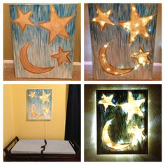 Canvas painting for soft light above changing table. I painted the gold stars really thin so that the LED Christmas lights would shine more easily through them.