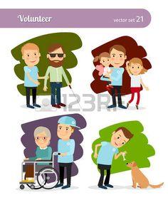 discapacidad: Personajes de dibujos animados de voluntariado joven. Ayudar a las personas con discapacidad y se alimentan los animales abandonados Vectores