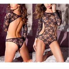 ❤️V-DAY❤️ sexy long sleeve lace teddy(A266) NEW sexy long sleeve lace cut out sides teddy....brand new fits size M Intimates & Sleepwear