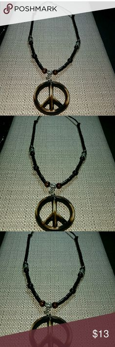 Men Marble color bone peace sign necklace Marble Color bone peace sign necklace. 24 inches in length.  Comes with adjustable links  and free thank you goodie gifts. 😀 Accessories Jewelry