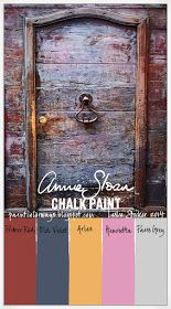 Colorways: Secret Door:  Such fabulous combinations of colours!!  Soft navy,rust, Yellow-Mustard, Pink, Gray. This paint actually goes from soft and pretty to stormy and dramatic as you chose.