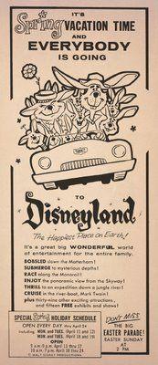 Disneyland ewspaper ad, 1963.