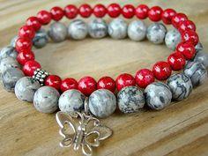Gemstone Jewelry, Red, Stackable Bracelets, Bracelet Set, Stretch Bracelets…