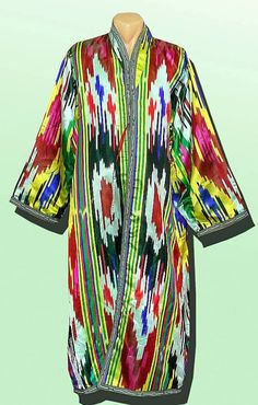 stunning long traditional vivid uzbek pure natural silk ikat robe chapan a3701