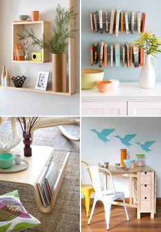 Clair Wayman style - love her clean fresh style! Little modern/vintage...but very clean lines. I'm also LOVING the unique wall bookshelf... I want to find one!