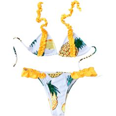 Frilled Pineapple Print Bikini Set (60 RON) ❤ liked on Polyvore featuring swimwear, bikinis, frill bikini, bikini two piece, white bikini, pineapple print bikini and white swimwear