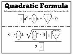 Quadratic Formula fill in the blank Math = Love