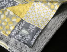 Rhonda Guthery Baby Blanket Gray and Yellow Patchwork Baby Quilt by GiggleSixBaby - This looks so soft. I love the yellow and grey.