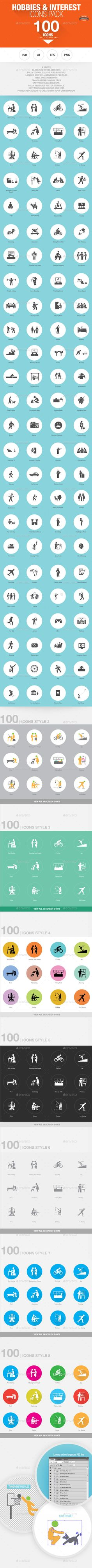 100  Hobbies and Interests Icons — Photoshop PSD #flat icons #app • Available here → https://graphicriver.net/item/100-hobbies-and-interests-icons-/6913540?ref=pxcr