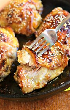 Sesame roasted chicken thighs