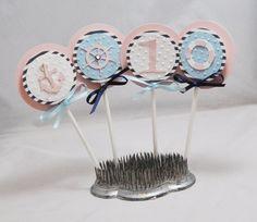 Girl Nautical Cupcake Toppers Set of 12 by CardsandMoorebyTerri, $21.00