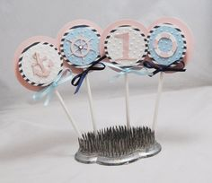 Girl Nautical Cupcake Toppers Set of 12 by CardsandMoorebyTerri, $21.00