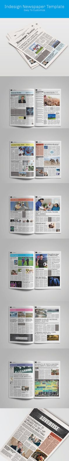 Newspaper template 12 pages indesign (a3) | Print templates ...