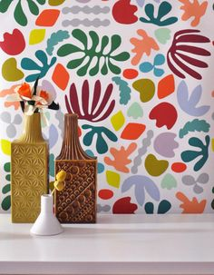 Make a Matisse-style paper cut mural; group work, abstract art Removable Wallpaper // Matisse is my muse // Adheres to walls and shelves and is removable Wallpaper Samples, Of Wallpaper, Designer Wallpaper, Mural Art, Wall Murals, Wall Art, Motif Floral, Wall Patterns, Colorful Wallpaper