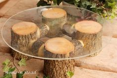 Rustic Wedding Cake Stand Table Decoration Ash Wood Stand Cupcake Tray Party Favors. $65.00, via Etsy.
