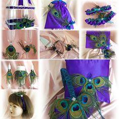 Peacock wedding basket, pillow, guest book, flutes, cake set, garters, bag, candles, card box, headband - Purple and Teal Weddings