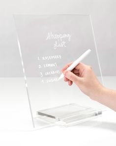 Both aesthetically inspiring and functional, our acrylic memo tablet + dry erase marker brings sleek sophistication to your office and home. - 1 two piece dry erase board + 1 white dry erase marker - 12 x 6 x inches - Base accommodates writing tool Home Office Design, Home Office Decor, Office Designs, Office Ideas, Library Design, Feminine Office Decor, Vintage Office Decor, Men Office, Work Desk Decor