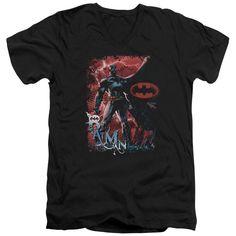 BATMAN/GOTHAM REIGN - S/S ADULT V-NECK - BLACK -