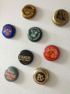Craft beer bottle cap magnets! awesome since we love drinking craft brews!!