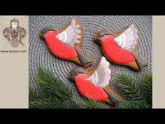 Christmas cookies decorating with royal ising. How to decorate a Christmas cookie Bullfinch - YouTube