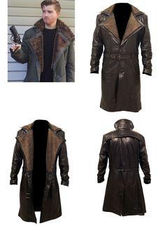 7172ee2e82e Blade Runner Ryan Gosling Officer K Fur Lapel Collar Trench Leather Coat  #ryanthomasgosling #bladerunner