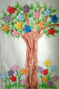 Mural guardería. Infantil 2 años. Primavera. Árbol de las estaciones.